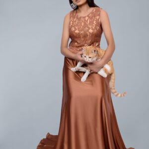 Brown Maxi with Plain Skirt
