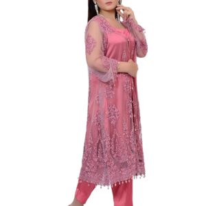 Pink Gown with Chiffon Dupatta